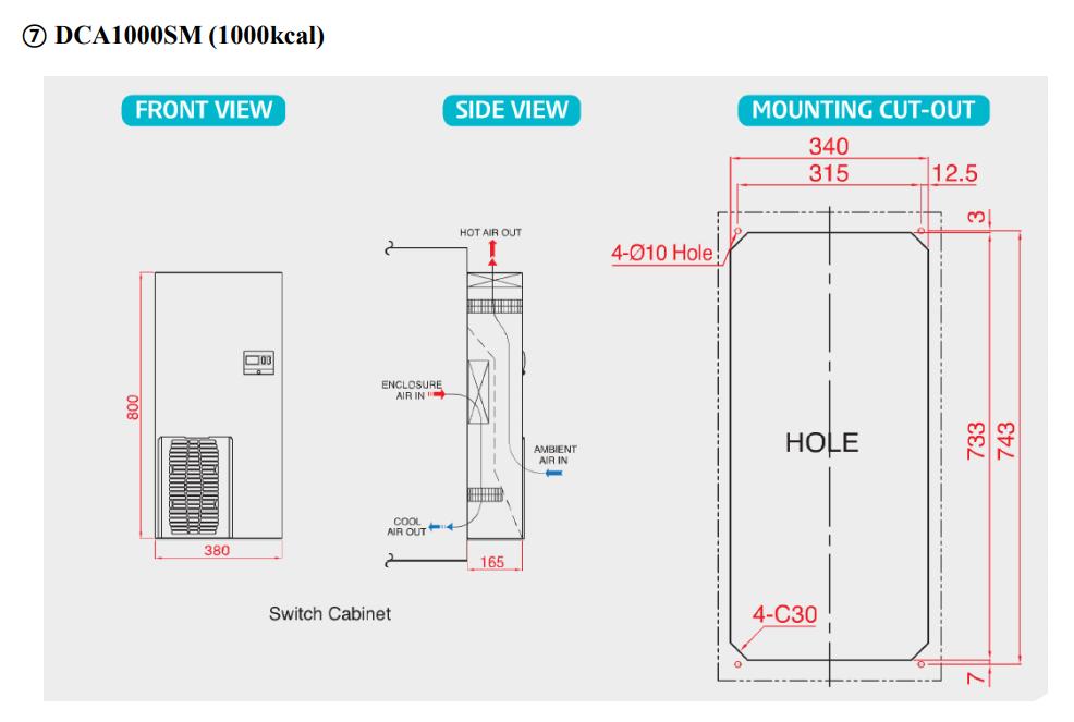 Sơ độ lắp đặt điều hòa tủ điện DCA1000SM-T( 1000kcal)