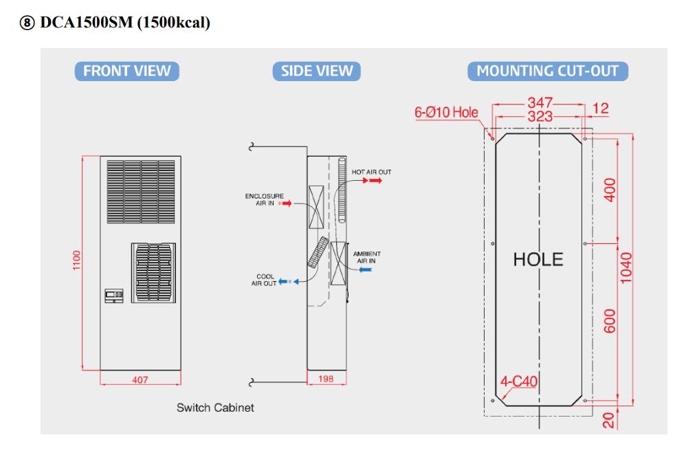 Sơ độ lắp đặt điều hòa tủ điện DCA1500SM-T( 1500kcal)
