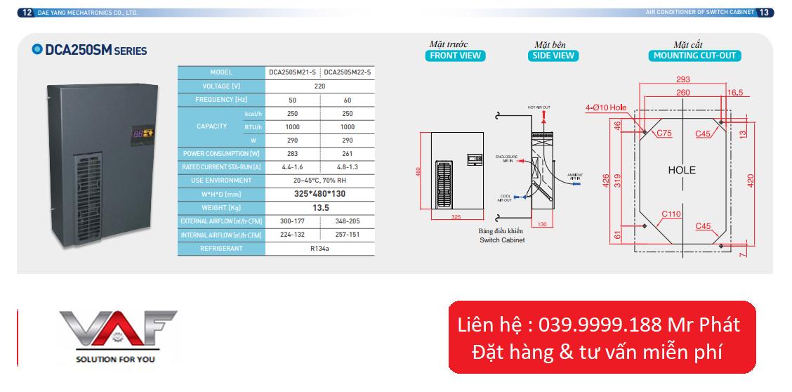 Thông số kỹ thuật điều hòa tủ điện DCA250SMSERIES daeyang
