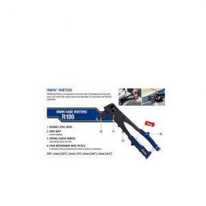 330mm  Rivet Sizes: 2.4mm(3/32″), 3.2mm(1/8″), 4.0mm(5/32″),  4.8mm(3/16″) Kềm rút rive 4 lỗ – R100   IRWIN Model 1886980